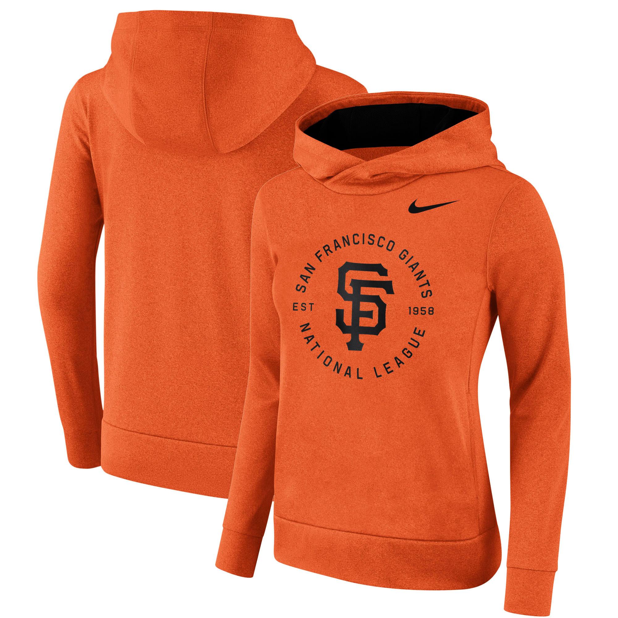 San Francisco Giants Nike Women's Therma Pullover Hoodie - Orange