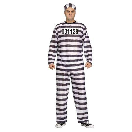 Mens Jailbird Halloween Costume Prisoner Convict Costume XL (40-42)