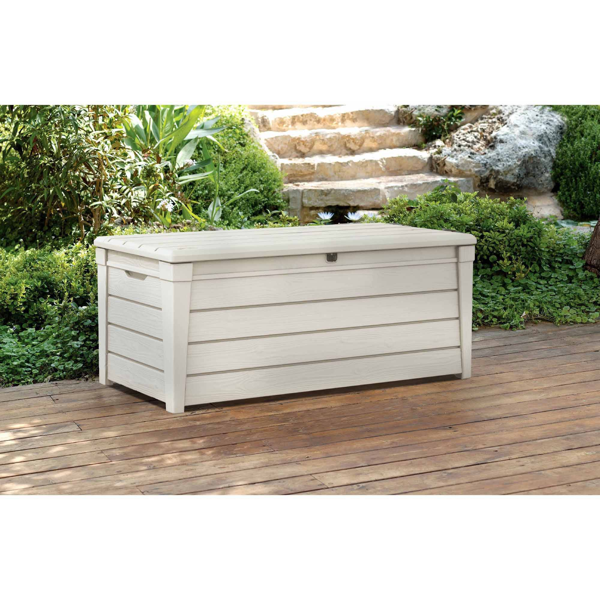 Keter Brightwood Outdoor Plastic Deck Box All Weather Resin Storage