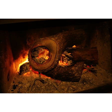 LAMINATED POSTER Log Fire Fireplace Warmth Hearth Indoor Cozy Poster Print 11 x