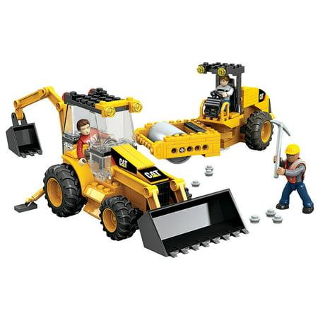 Mega Bloks World Builders 3 Pose Buildable Caterpillar Roadbuilding