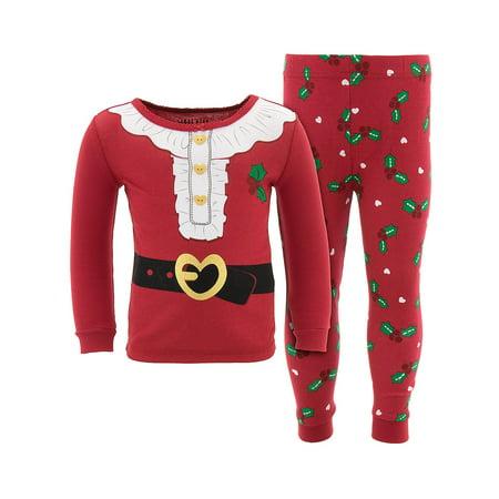 Komar Kids Toddler Girl Christmas Mrs. Clause Cotton Tight Fit Pajamas, 2pc (Toddler Christmas Pajamas)