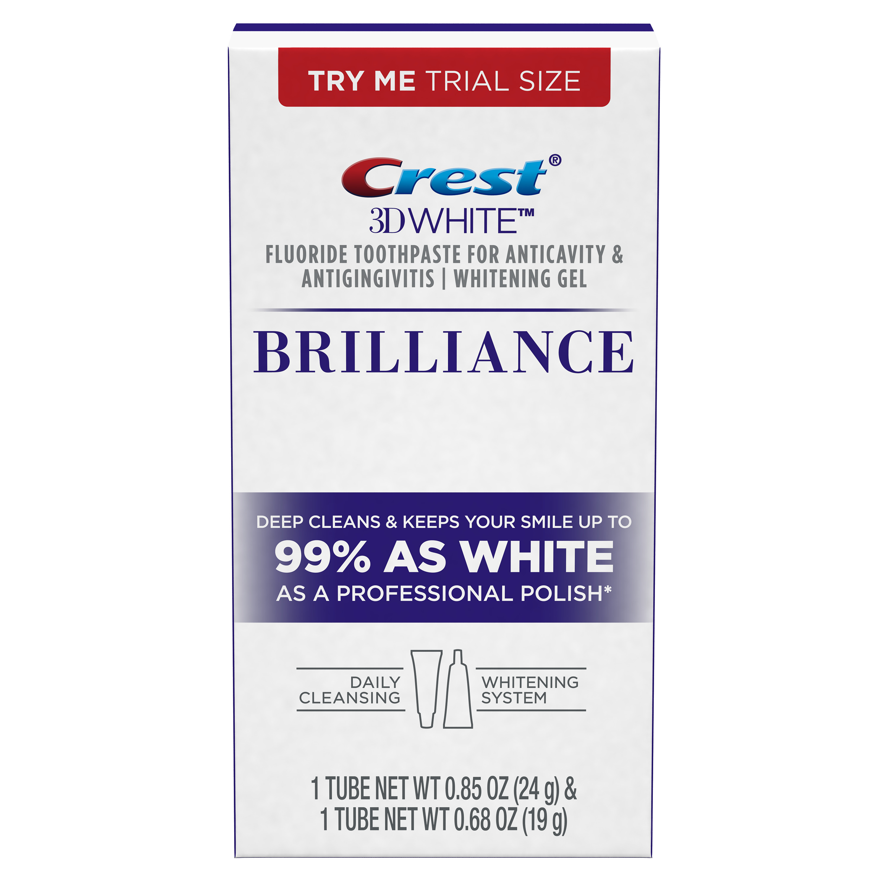 Crest 3D White Brilliance Daily Cleansing Toothpaste and Whitening Gel System .85 Oz and .68 Oz