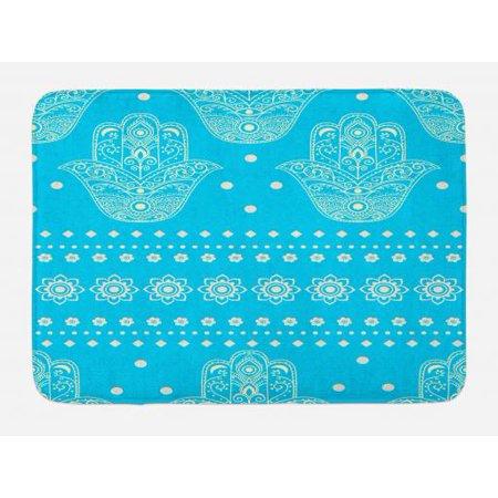 Hamsa Bath Mat, Eastern Culture Theme Hamsa Hands Geometric and Floral Prints Amulet Evil Eye Protection, Non-Slip Plush Mat Bathroom Kitchen Laundry Room Decor, 29.5 X 17.5 Inches, Blue, Ambesonne