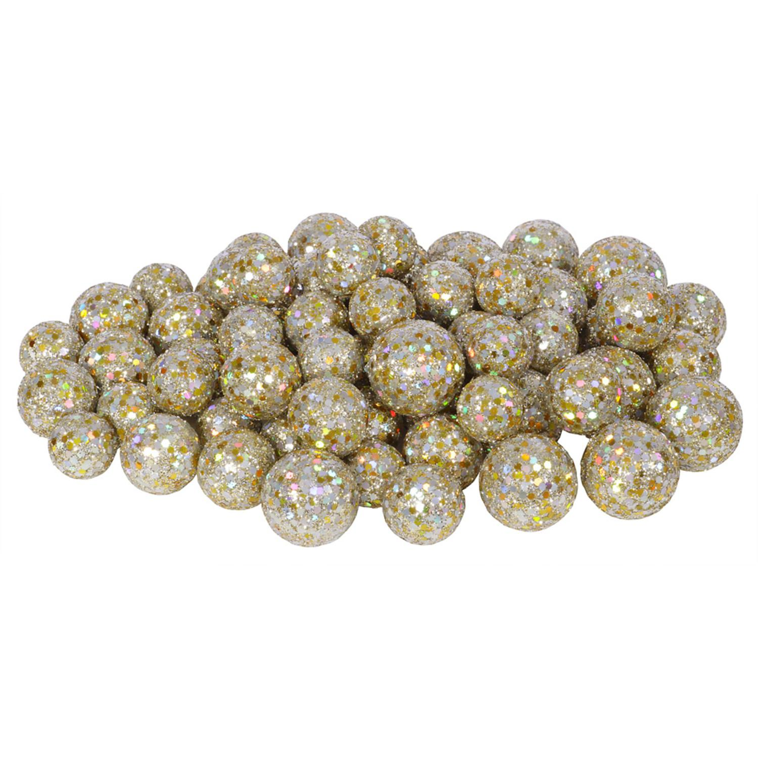 "60ct Champagne Sequin and Glitter Christmas Ball Decorations 0.8"" - 1.25"""