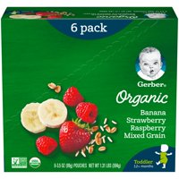 Gerber Organic Toddler Foods Baby Food, Banana Strawberry Raspberry Mixed Grain, 3.5 oz Pouch (Pack of 6)