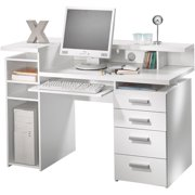 Whitman Office 2-Shelf, 4-Drawer Desk with Hutch and Pull-Out Keyboard Tray, White, Box 3 of 3