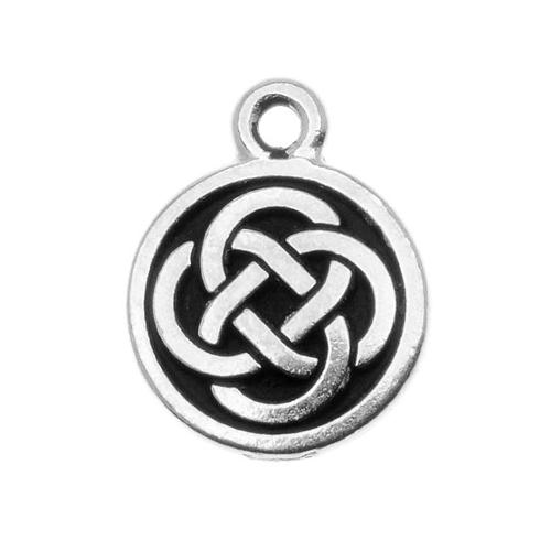 Fine Silver Plated Pewter Celtic Round Charm 15mm (1)