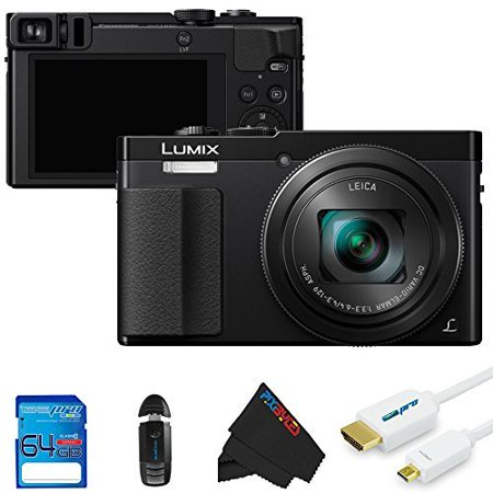 Panasonic Lumix DMC-ZS50 30X Travel Zoom with Eye Viewfinder + 64GB Pixi-Basic Accessory Kit