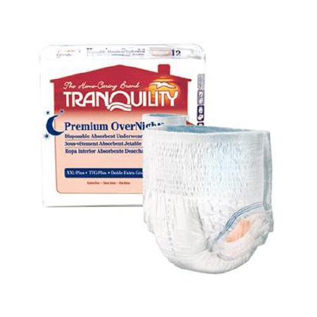 Tranquility Premium OverNight Disposable Absorbent Underwear Medium 34'' to 48'', Pack of 36