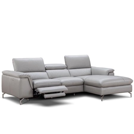 J M Serena Modern Grey Premium Italian Leather Sectional Sofa Right Hand Chase