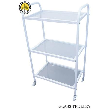 DevLon NorthWest Rolling Glass Trolley Cart 3 Glass Shelves Beauty Spa Hair White Salon Equipment