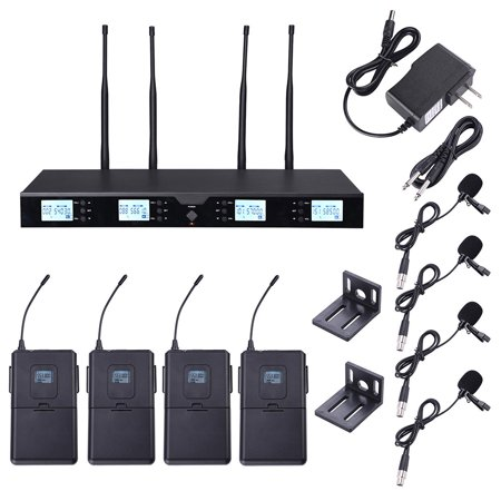 Yescom 4 Channel Receiver UHF Wireless Microphone System w/ 4 Headset Mics