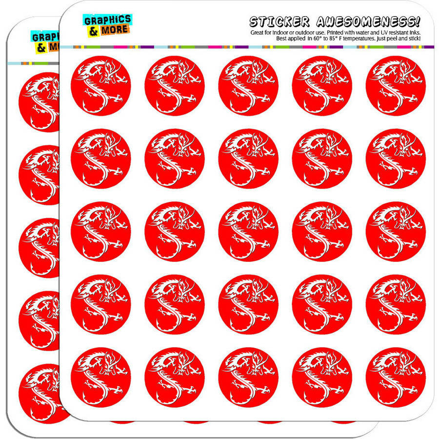 """Asian Chinese Dragon Red 50 1"""" Planner Calendar Scrapbooking Crafting Stickers"""