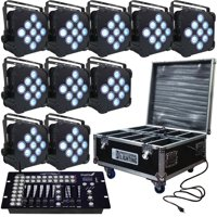 Up Lighting - LED Battery Powered Wireless DMX - 10 Up Lights with Case & Controller - DJ Lights
