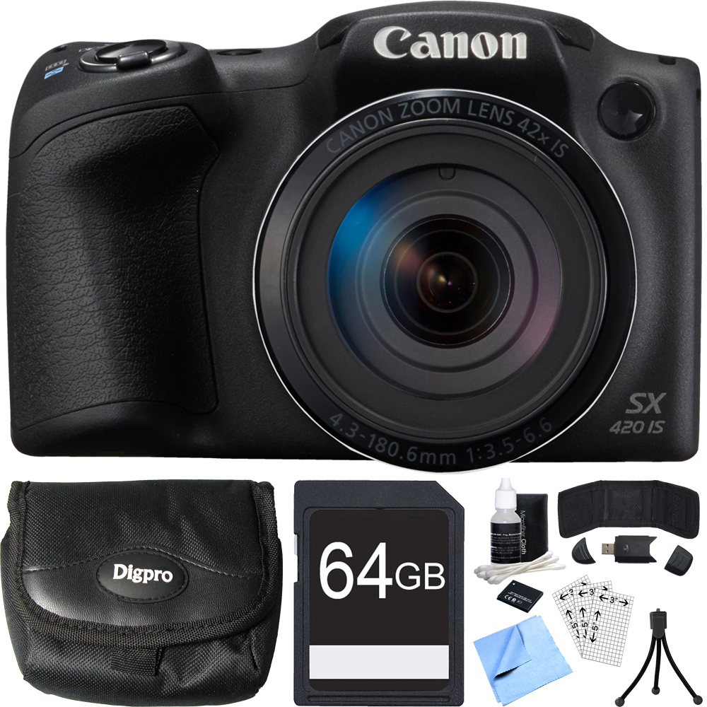 Canon PowerShot SX420 IS 20MP Black Digital Camera 64GB Card Bundle includes Camera, 64GB Memory Card, Reader, Wallet, Case, Battery, Mini Tripod, Screen Protectors, Cleaner and Beach Camera Cloth