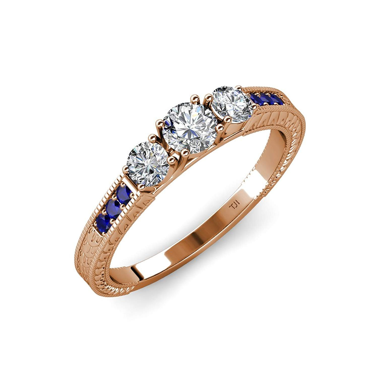 Diamond Milgrain Work Three Stone Ring with Blue Sapphire on Side Bar 0.85 ct tw 14K Rose Gold.size 8.0 by TriJewels