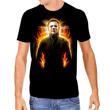 Halloween 2 Mens Michael Myers In Flames T-Shirt - Flaming Halloween Shots