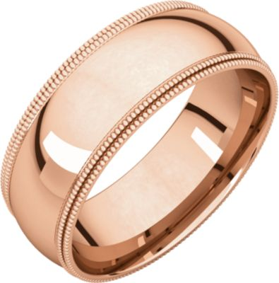 Roy Rose Jewelry 14K Rose Gold 7mm Double Milgrain Comfort Fit Wedding Band Rings Size 9