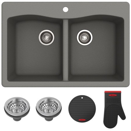 "KRAUS Forteza™ 33"" Dual Mount 50/50 Double Bowl Granite Kitchen Sink in Grey"