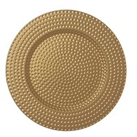 AK-Trading - Set of 12, Premium Finest Quality Party Plate Chargers, 13-Inch Round, Gold Hammered Design