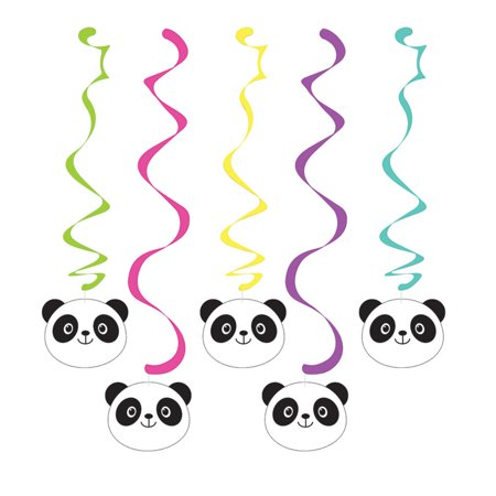 Club Pack of 30 Vibrantly Colored Assorted Panda Monium Dizzy Dangler Hanging Party Decorations (Panda Birthday Party)