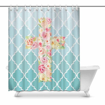 Mkhert Watercolor Flower Cross With Aqua Teal Moroccan Tile Quatrefoil Waterproof Shower Curtain Decor Fabric Bathroom Set 60x72 Inch