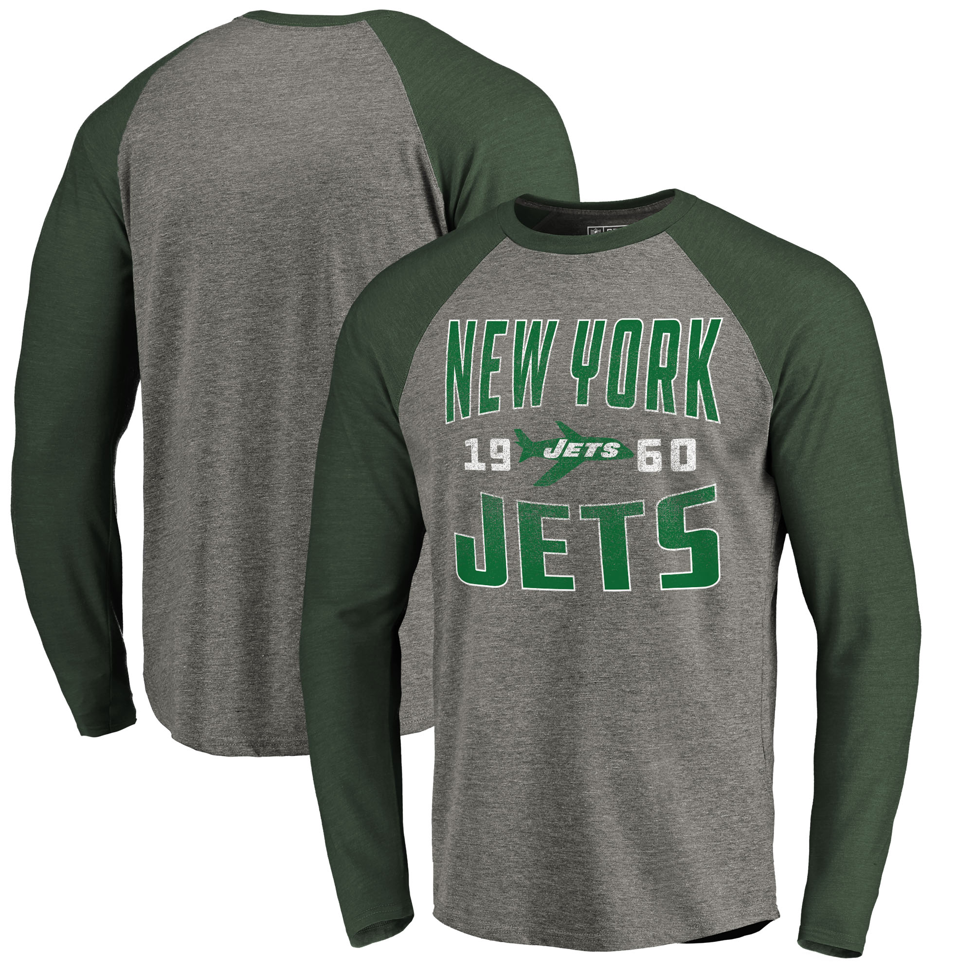 New York Jets NFL Pro Line by Fanatics Branded Timeless Collection Antique Stack Long Sleeve Tri-Blend Raglan T-Shirt - Ash