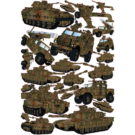 Green Military Tank Wall Decals Stickers and Armored Trucks Military Wall Decor