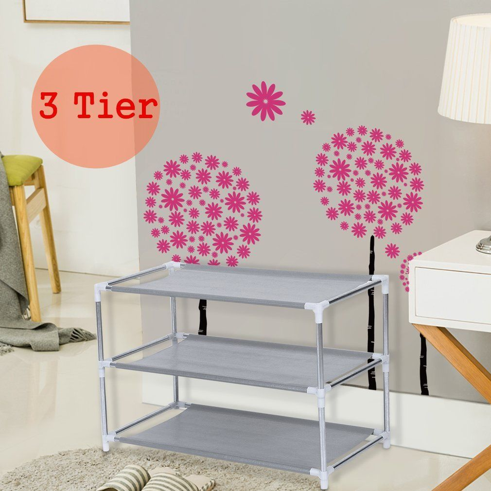 3-Tiers Metal Shoes Rack Stand Shoes Storage Organizer Fabric Shelf Holder Stackable Closet US