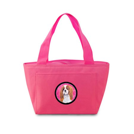 15 x 7 in. Cavalier Spaniel Zippered Insulated School Washable and Stylish Lunch Bag Cooler, Pink - image 1 de 1