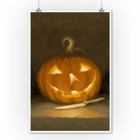 Jack-O-Lantern - Halloween Oil Painting - Lantern Press Artwork (9x12 Art Print, Wall Decor Travel - Halloween Painting