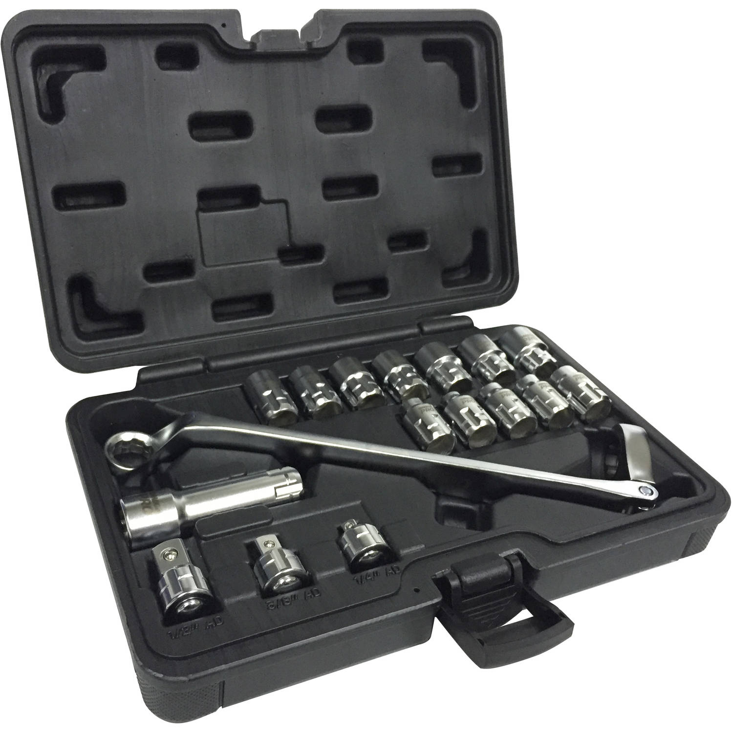 "Omega Pro 83030 17-Piece 1/2"" Drive Flexible Ratchet with Go-Through Sockets, 1/4"" and 3/8"" Adapters, MM"