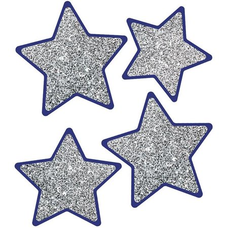 Carson Dellosa CD-120570BN Sparkle & Shine Solid Silver Glitter Stars Cut-Outs - Pack of 3 - image 1 de 1