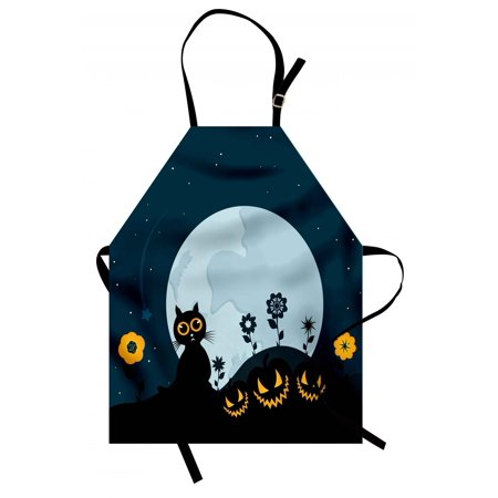Halloween Apron Cute Cat and Lanterns Moon on Floral Field with Starry Night Sky Star Cartoon Art, Unisex Kitchen Bib Apron with Adjustable Neck for Cooking Baking Gardening, Blue Black, by Ambesonne