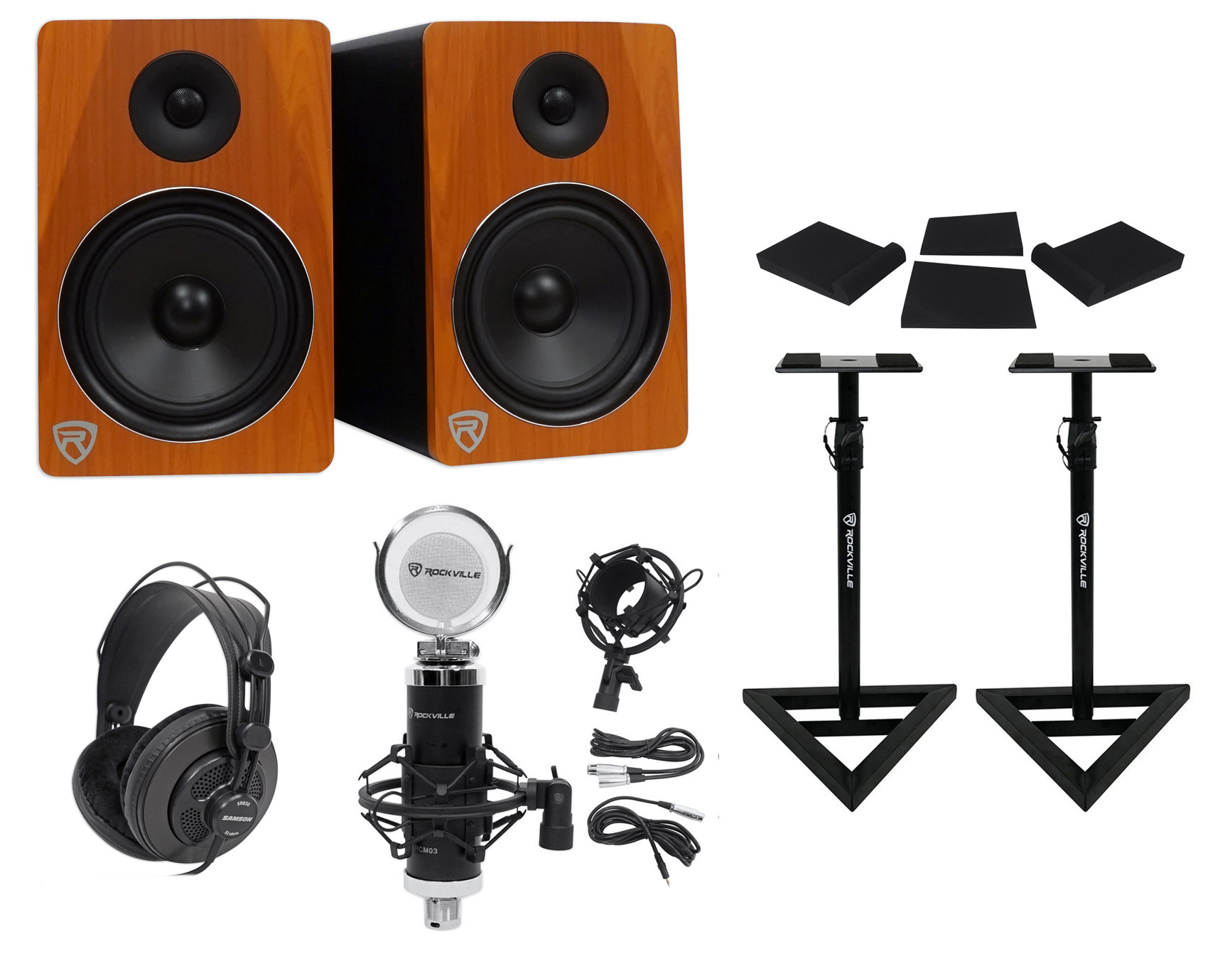 "2) Rockville APM8C 8"" 500w Powered Studio Monitors+Stands+Pads+Headphones+Mic by ROCKVILLE"