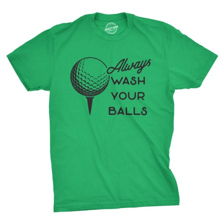 Mens Always Wash Your Balls Tshirt Funny Golf Fathers Day Tee For (Dad Golf Shirt)