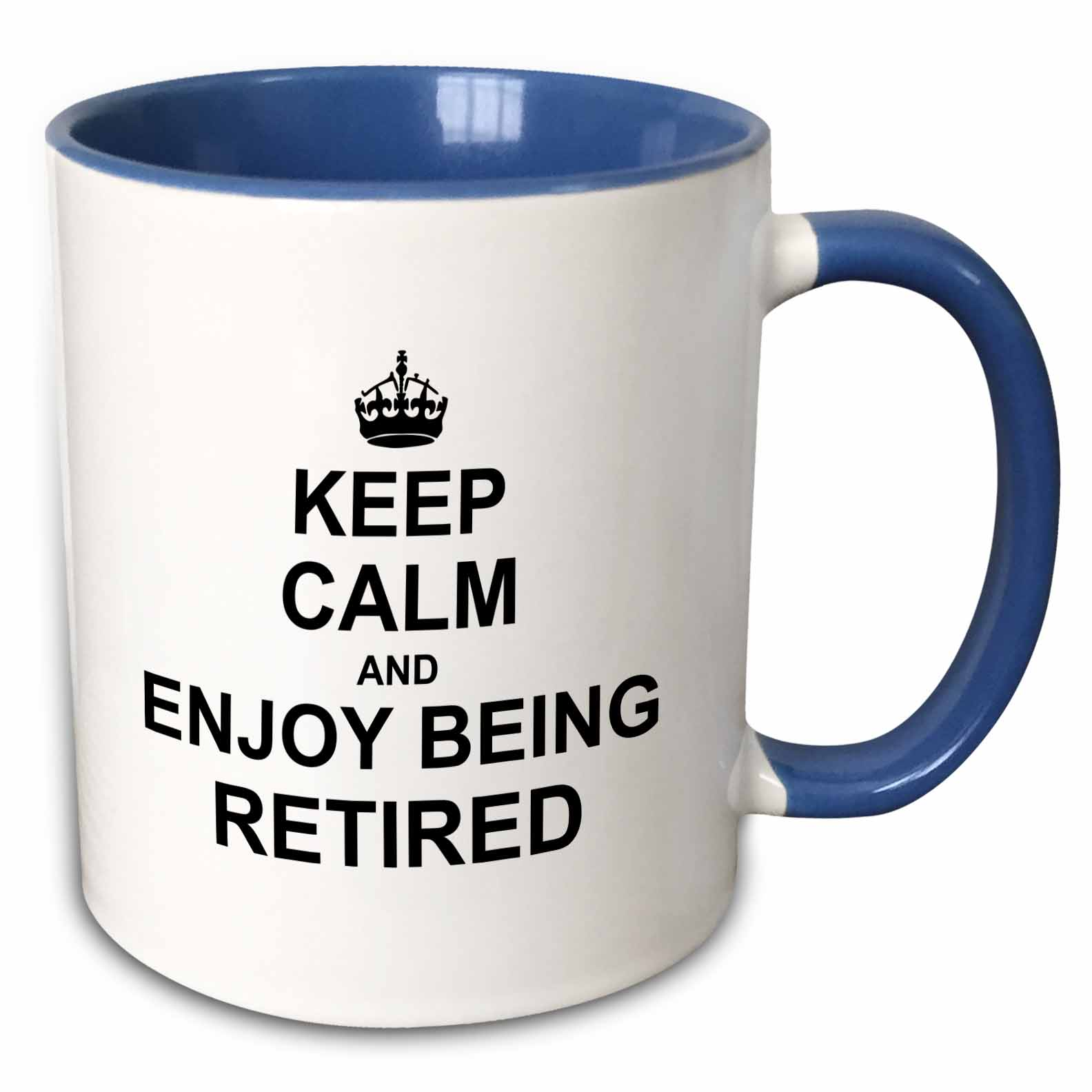3dRose Keep Calm and Enjoy being Retired. fun carry on themed Retirement gift - Two Tone Blue Mug, 11-ounce