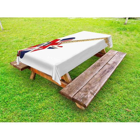 Union Jack Outdoor Tablecloth, Classical Electric Guitar UK Flag Great Britain Music Instrument, Decorative Washable Fabric Picnic Table Cloth, 58 X 84 Inches,Pale Brown Silver Black, by Ambesonne