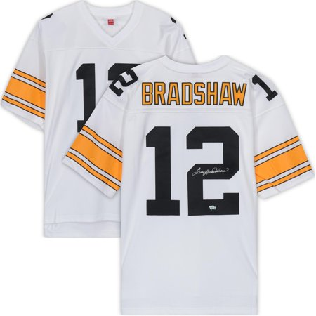 Terry Bradshaw Pittsburgh Steelers Autographed White Mitchell & Ness Replica Jersey - Fanatics Authentic Certified