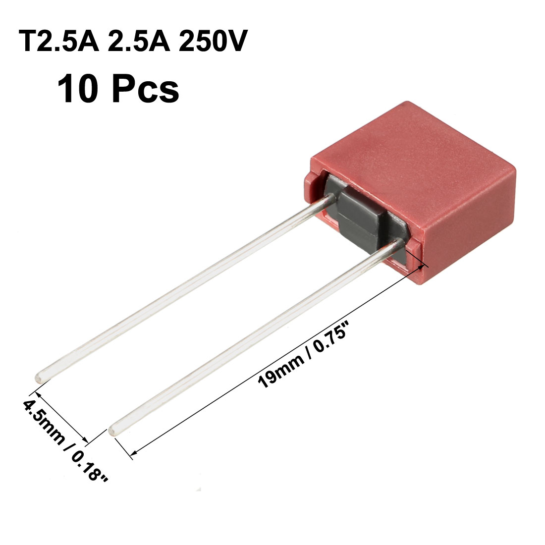 10Pcs DIP Mounted Miniature Square Slow Blow Micro Fuse T2.5A 2.5A 250V Red - image 3 de 4