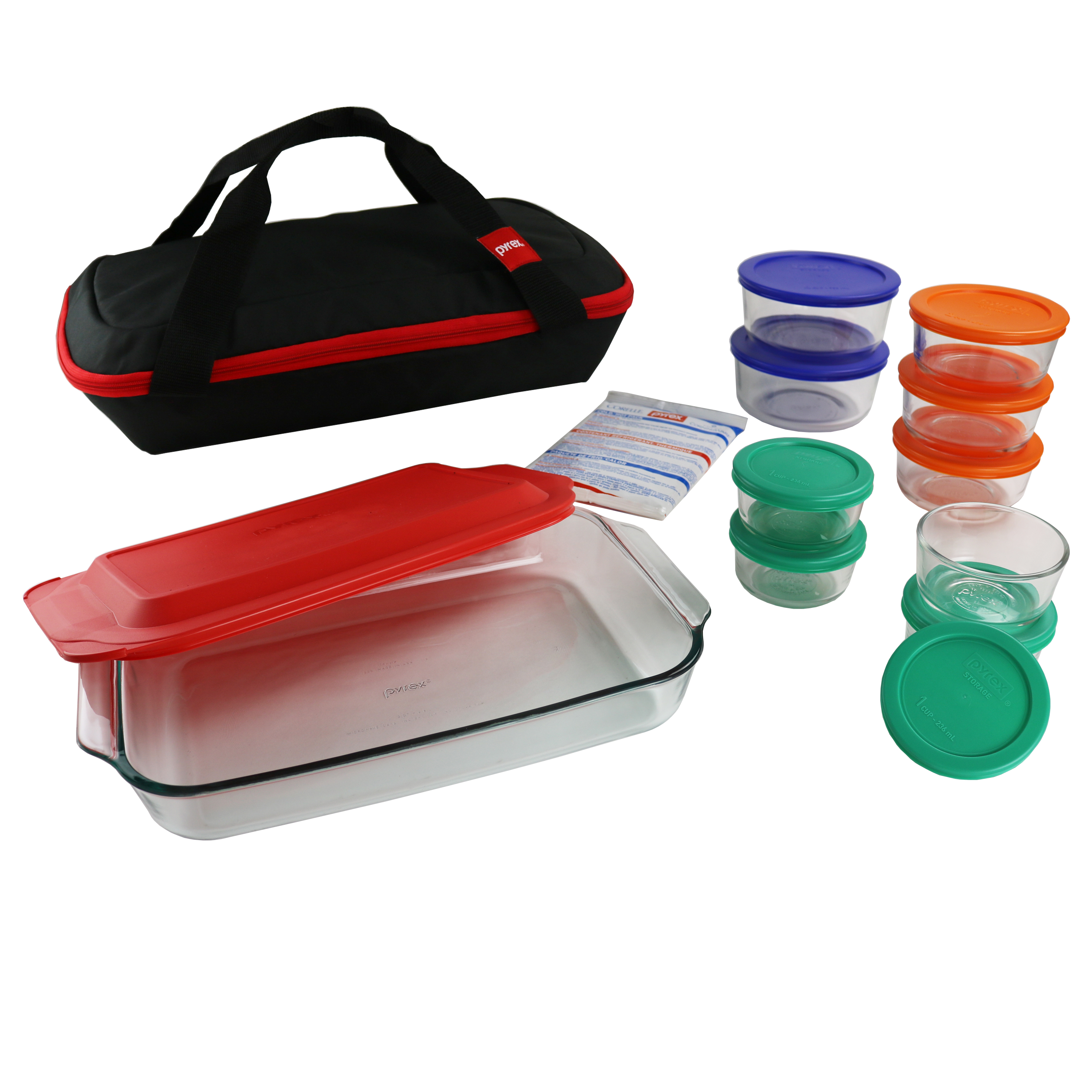Pyrex Pyrex 22-Piece Portable Set, Bakeware, Storage, Green, Blue, Orange, Red