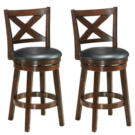 Costway Set of 2 Bar Stools 24'' Height Wooden Swivel Backed Dining Chair Home Kitchen Back Wooden Bar Stool