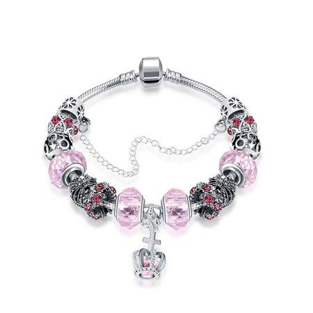 Azori Jewelry Pdrh045 C Royal Coral Crown Jewel Pandora Inspired Bracelet