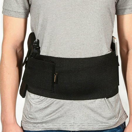 HURRISE Concealed Belly Holster,Belly Pistol Holster,Soft Black Elastic Slim Concealed Carry Belly Gun Pistol Holster Waist Band (The Best 45 Pistol To Carry)