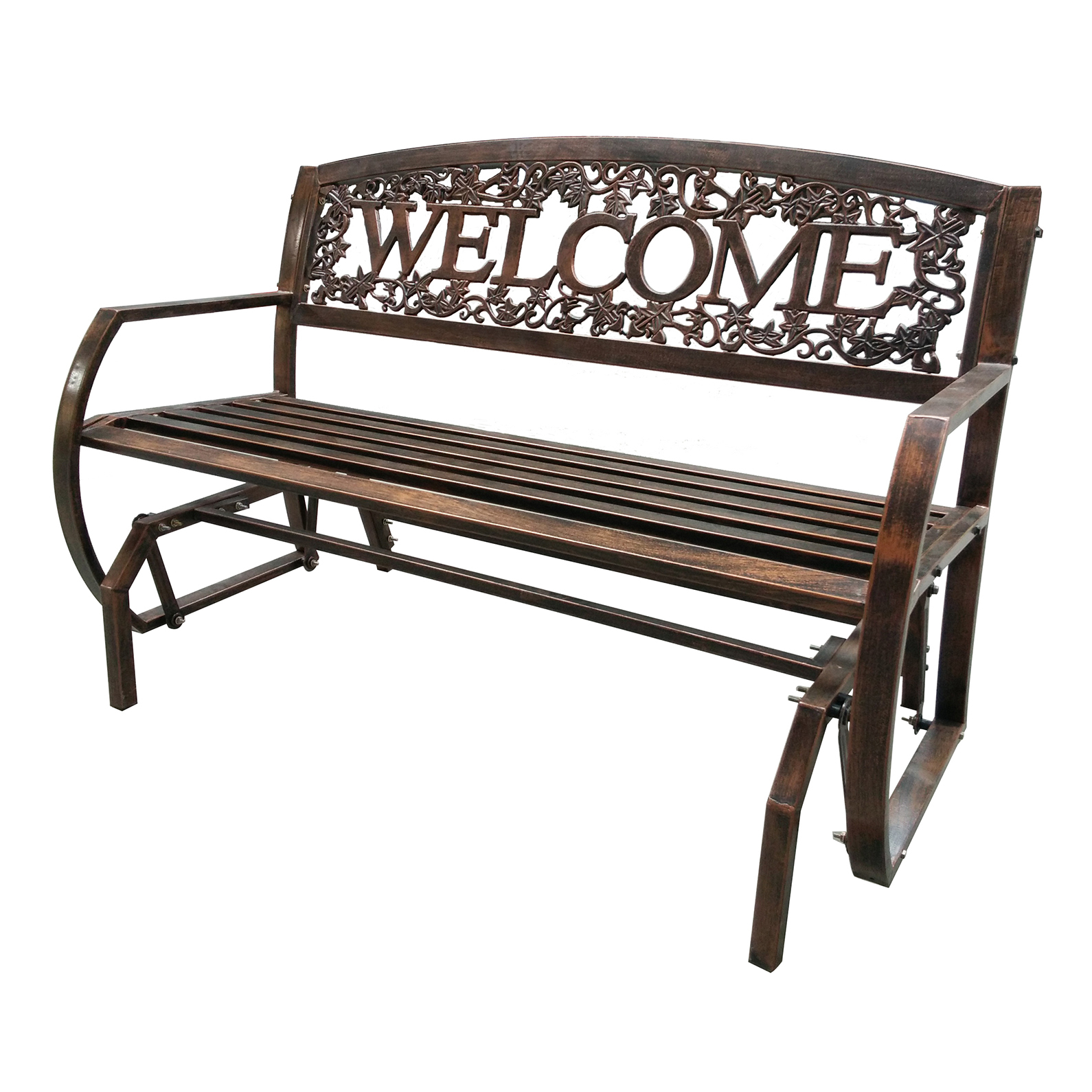 "Lehigh Country TX94062 50.4"" X 27"" X 34.1"" Powder Coated Welcome Double Glider"
