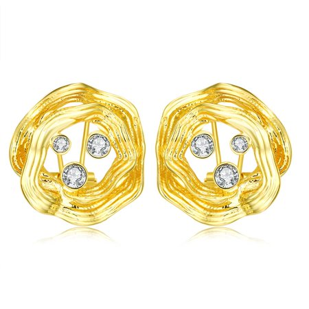 Circular Gemstone - 18K Rose Gold Circular Stud Earrings with Three Swarovski Jewels Made with Cubic Zircon
