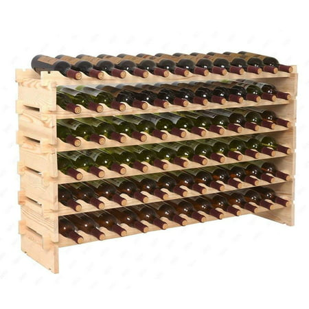 Homecom 72 Bottle Rustic Solid Wood Wine Rack Storage 6 Tier Storage Display Shelves