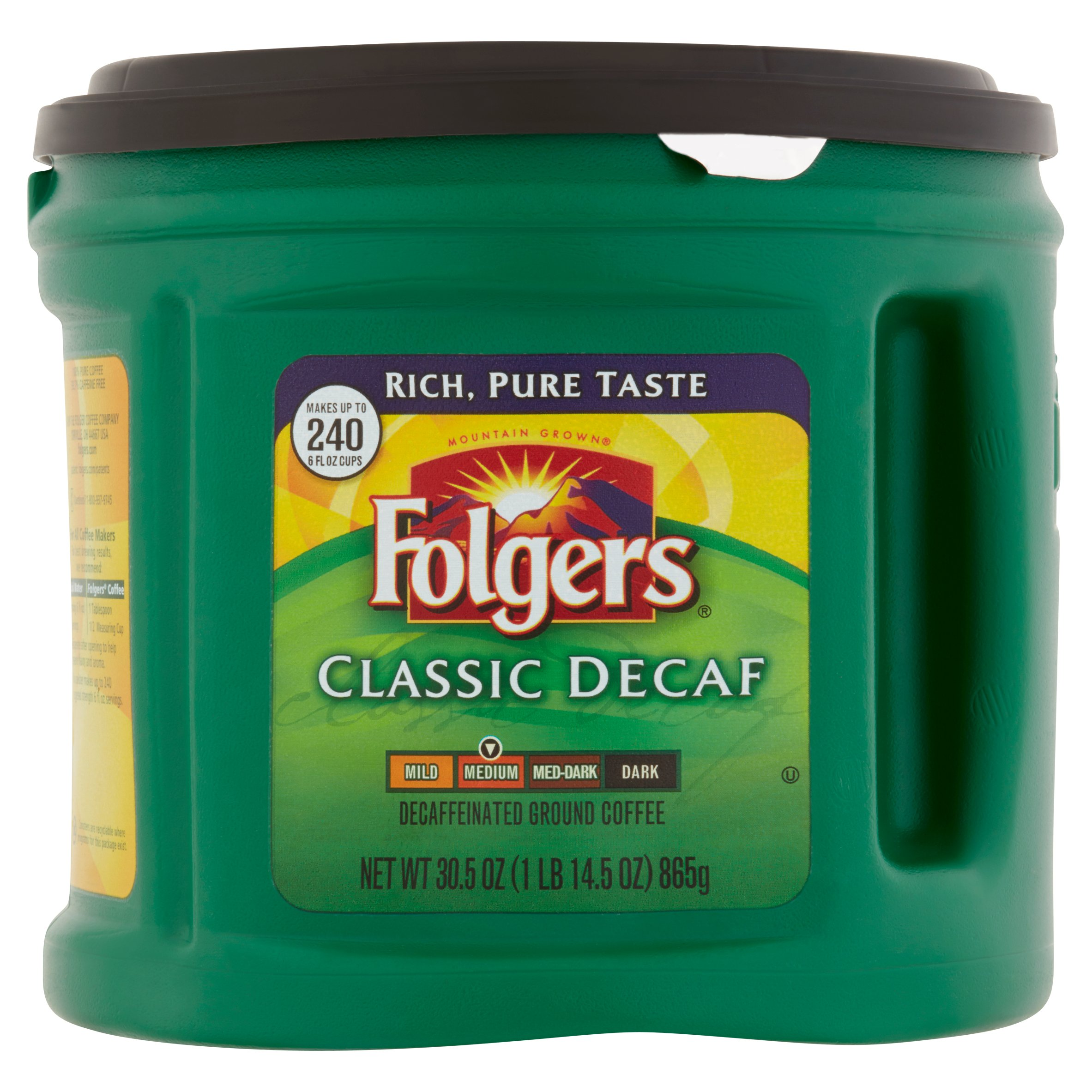 Folgers Mountain Grown Classic Decaf Medium Decaffeinated Ground Coffee, 30.5 oz