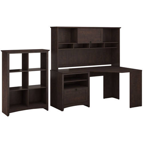Bush Furniture Buena Vista Corner Desk & 6-Cube Storage in Madison Cherry Finish